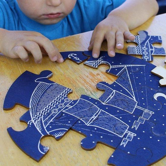 Puzzle rond en bois